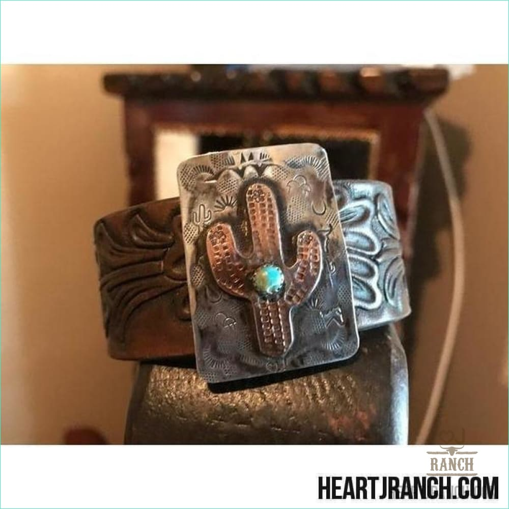 Copper Saquaro On Sterling With A Turquoise Stone 7 3/4 Cuff - Cuff