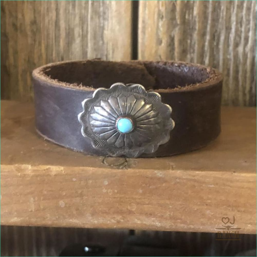 Cuff With Sterling Silver Concho And Turquoise Stone 1004