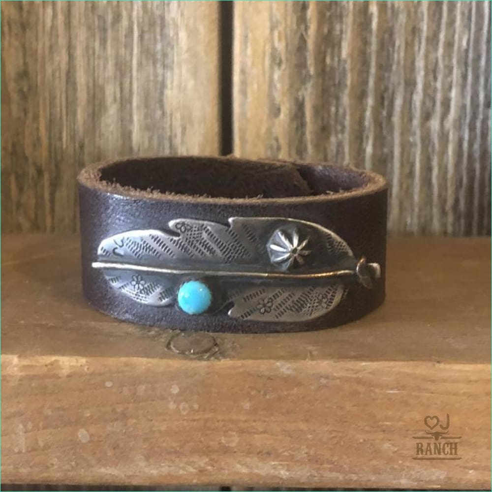 Cuff With Sterling Silver Feather and Turquoise Stone