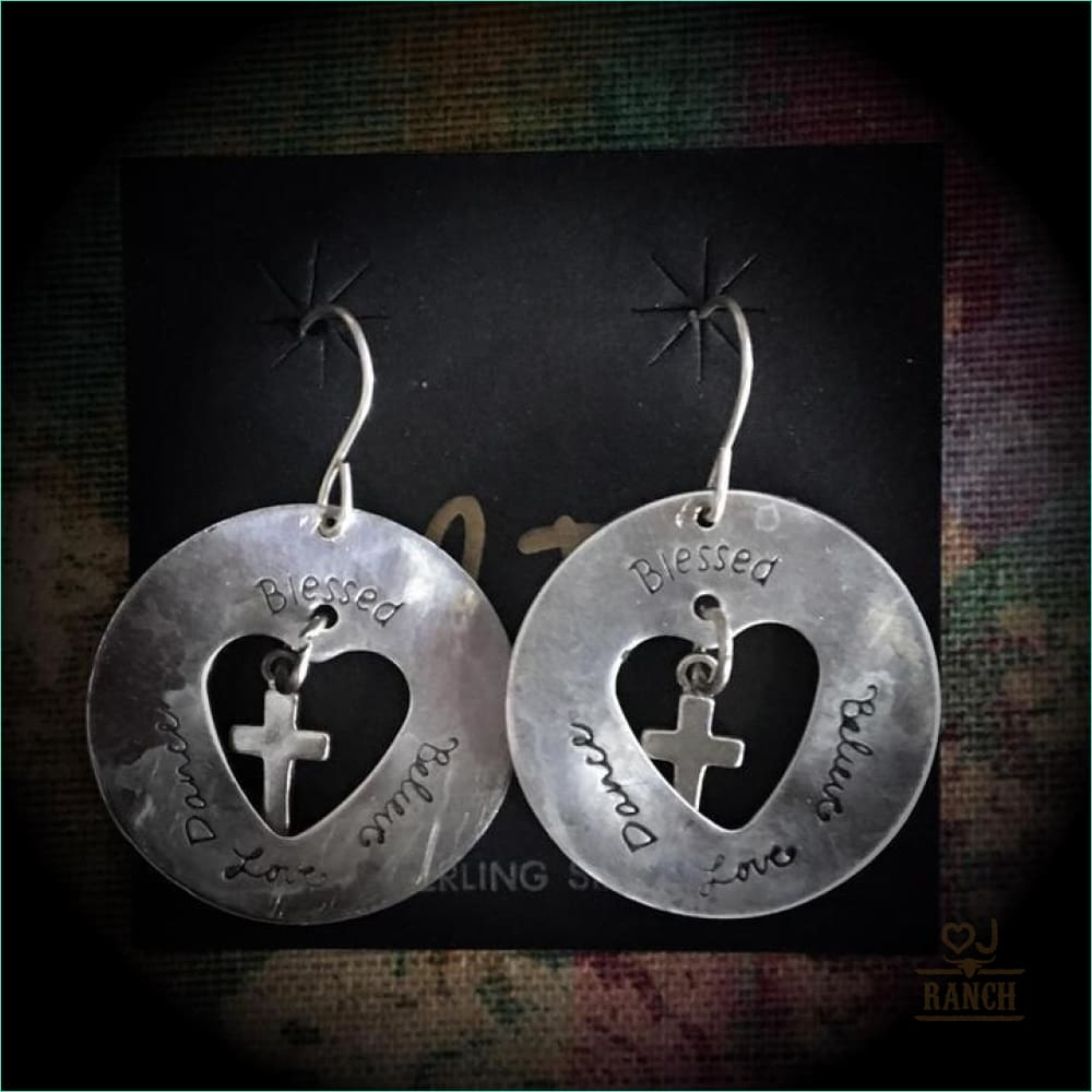 Heart & Cross Dangle Earrings - Earrings