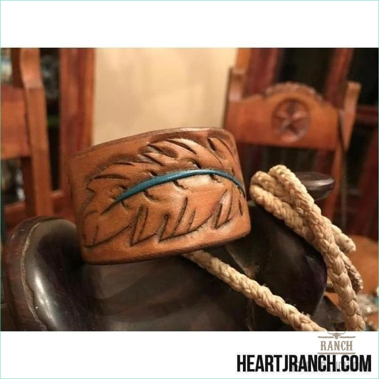Heart J Leather Feather 8 Cuff - Cuff