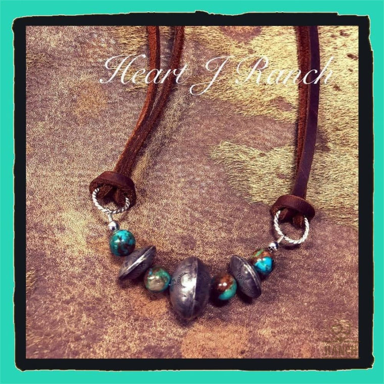 Heart J Turquoise And Sterling Silver Bench Beaded Necklace - Necklace