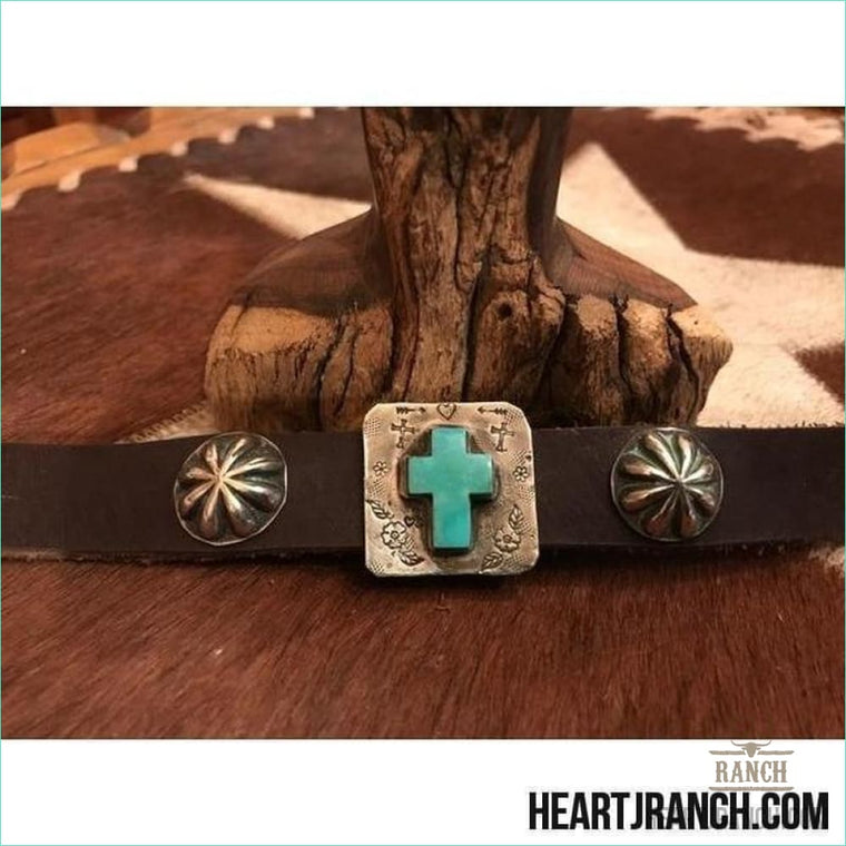 Heart J Turquoise Cross On Sterling 7 Cuff - Cuff