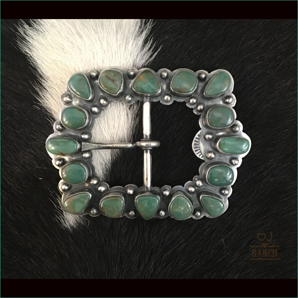 Jimmy Lee Turquoise And Sterling Silver Buckle - Belt Buckle