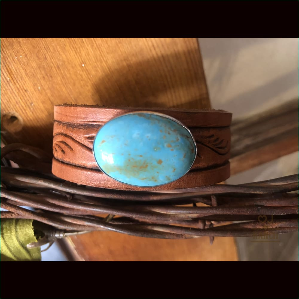Kingman Turquoise oval on Leather Cuff