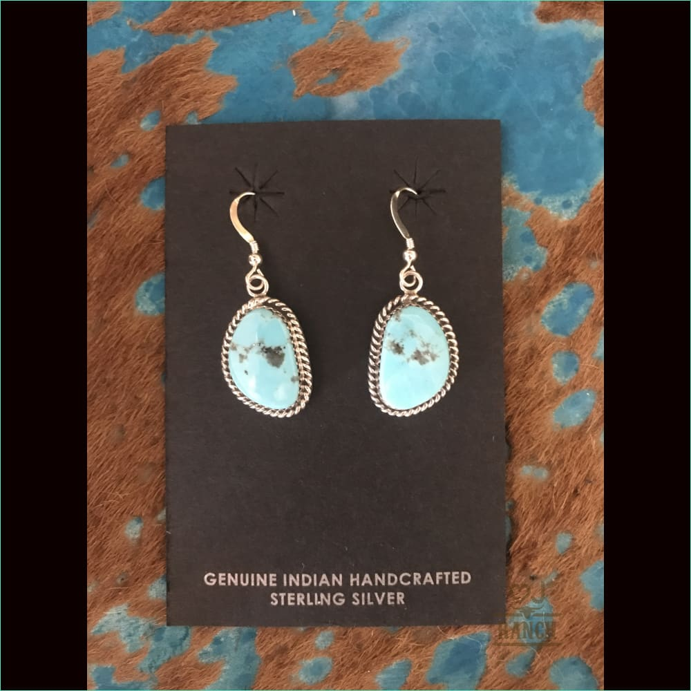 Kingman Turquoise Silver Dangle Earrings Navajo French Hooks - Earrings