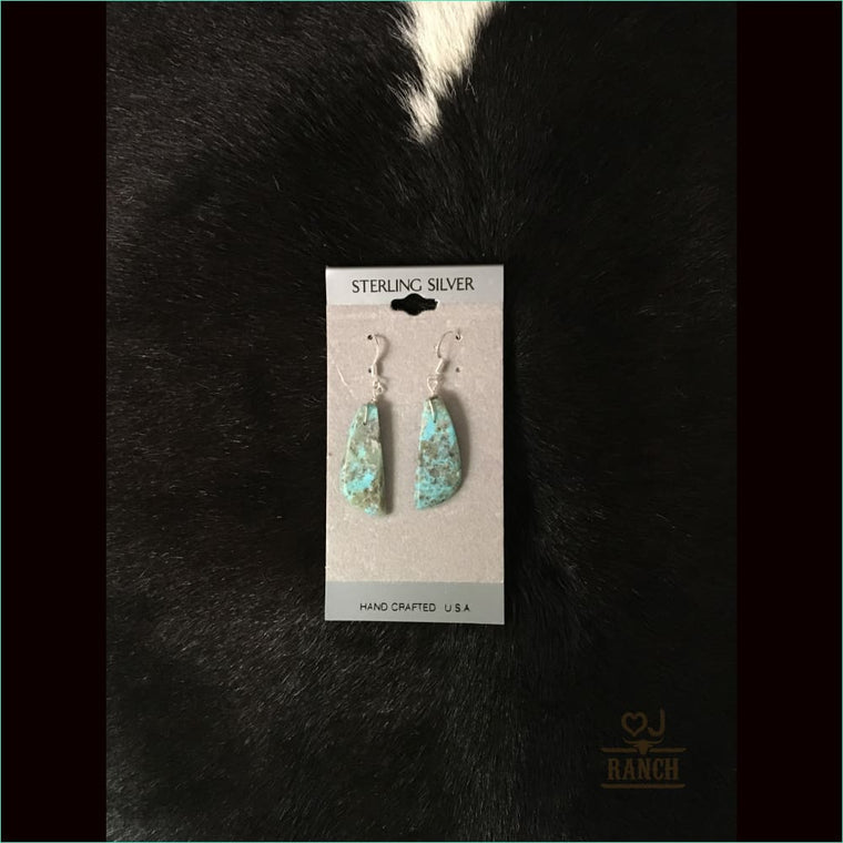 Kingman Turquoise Slab Earrings 2 - Earrings