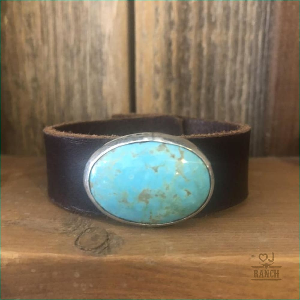 Leather Cuff w/ Oval Kingman Turquoise