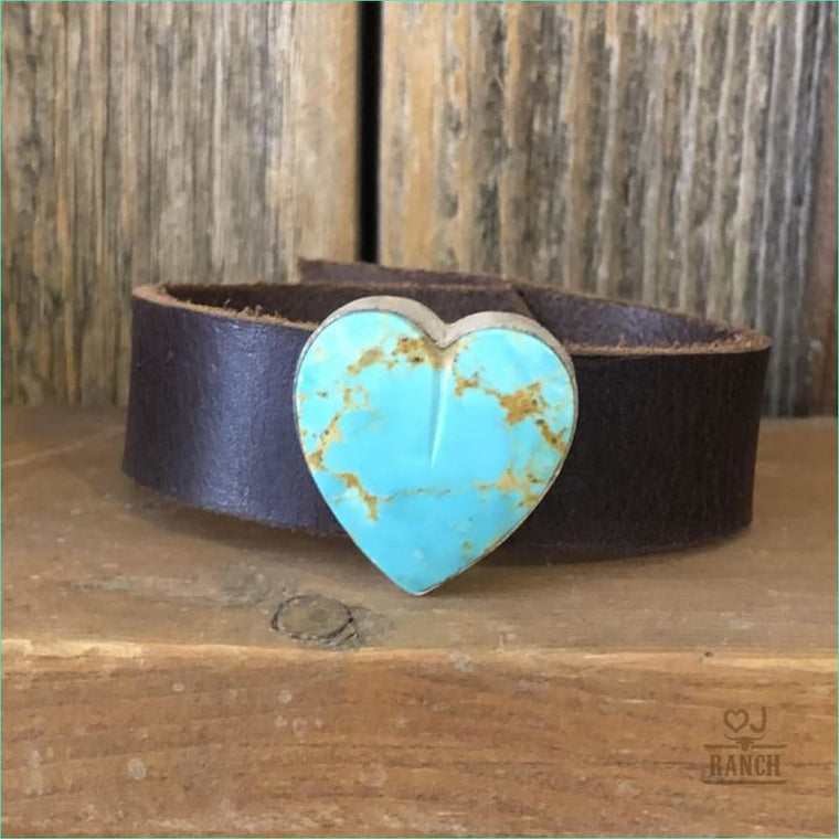 Leather Cuff w/ Turquoise Heart