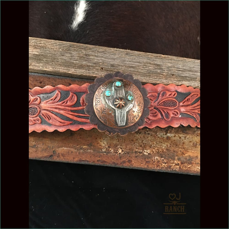 Leather Cuff With Copper And Sterling Silver Saguaro With Turquoise Stones 1 - Cuff