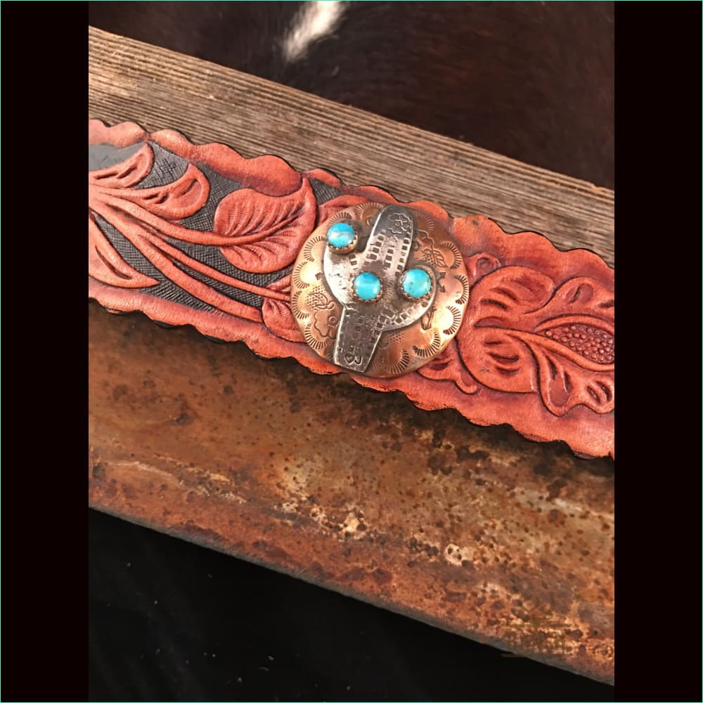 Leather Cuff With Copper And Sterling Silver Saguaro With Turquoise Stones 2 - Cuff