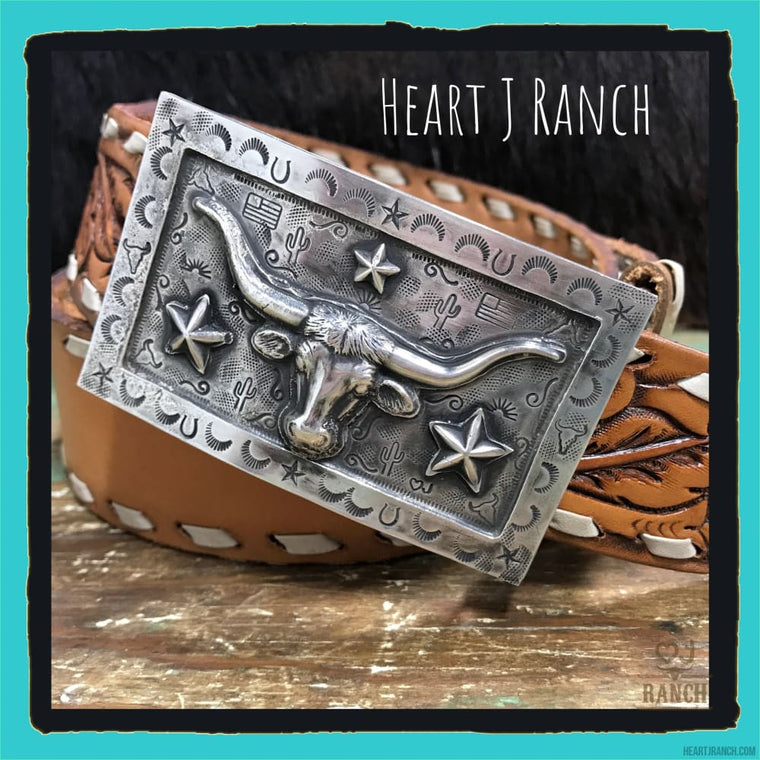 Longhorn Sterling Silver Buckle - Belt Buckle