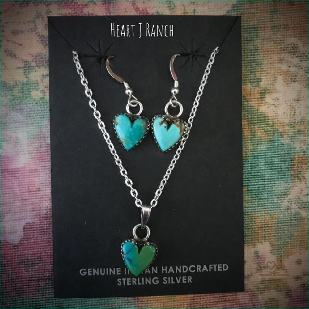 Native Heart Earrings & Necklace Set - Style 90124 - Earrings