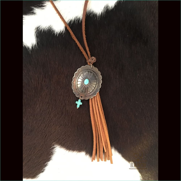 Native Silver Concho With Turquoise Stone & Crosterling Silver Pendent - Necklace