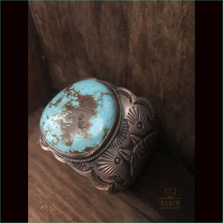 Native Sterling Silver Blue Turquoise Cuff - Cuff