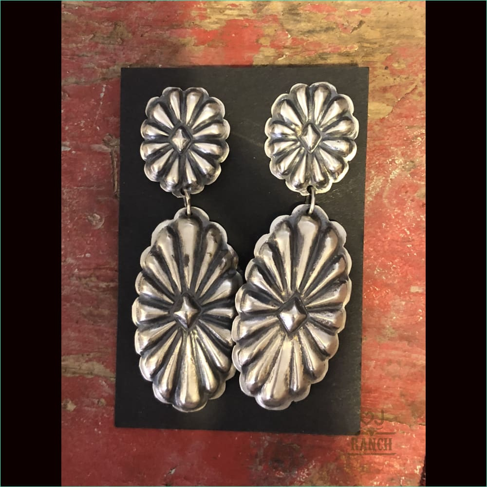 Native Sterling Silver Concho Earrings