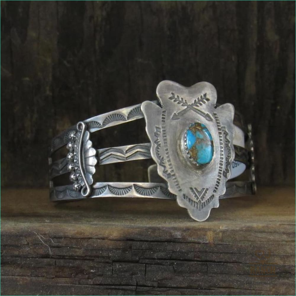 Native Sterling Silver Cuff With Arrow Head With Turquoise Stone