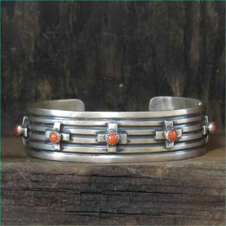 Native Sterling Silver Cuff With Crosses With Red Stones