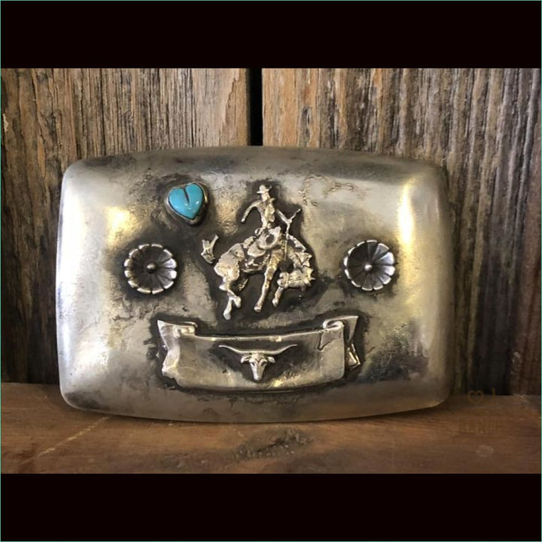 Nickel Buckle A547/Turquoise Heart/Bronc
