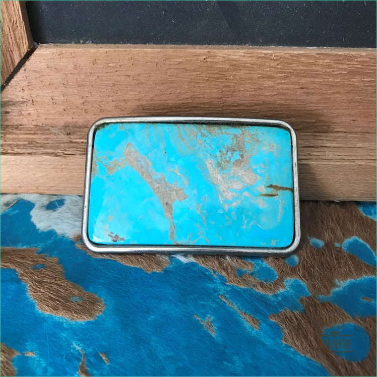 Rectangle Turquoise Buckle - Belt Buckle