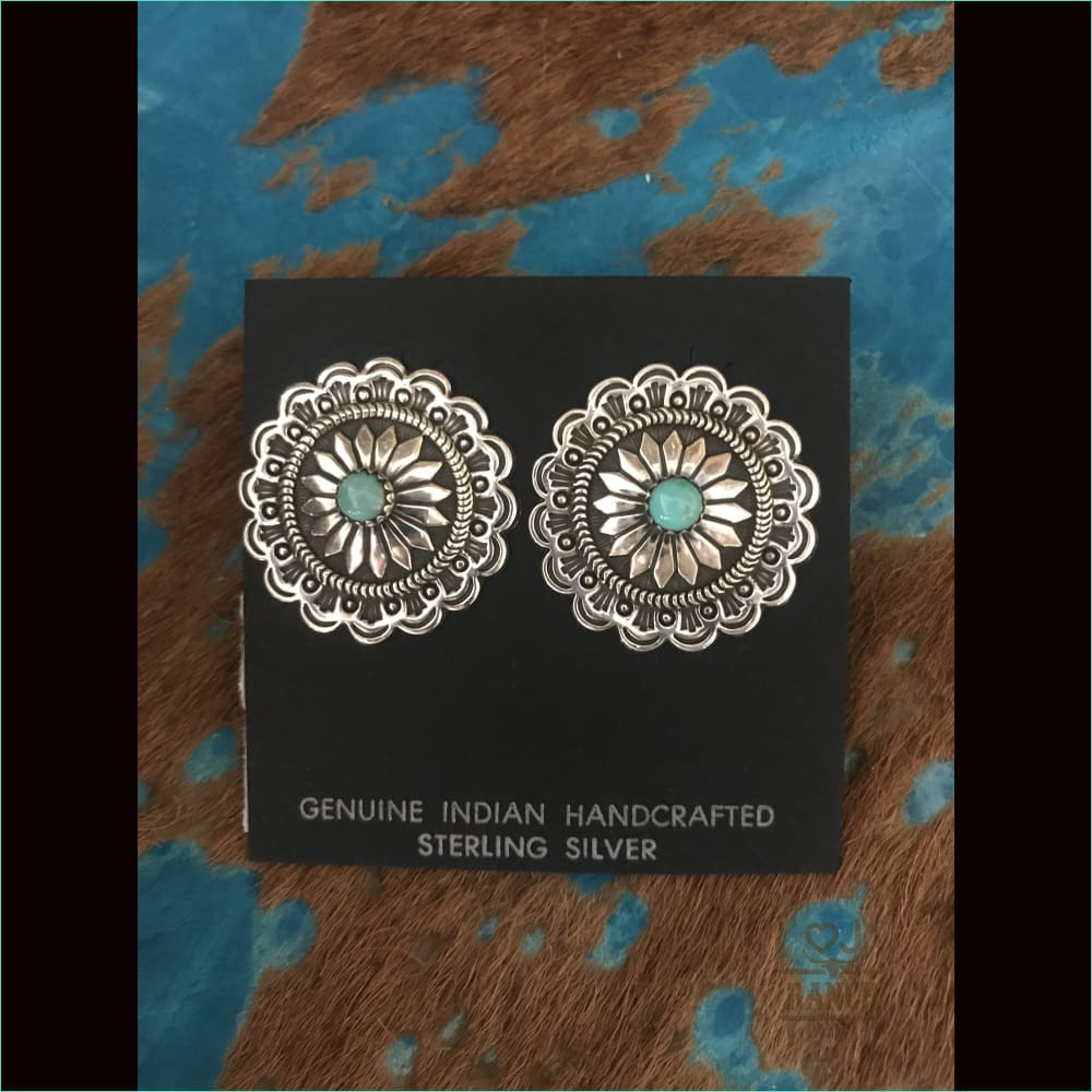 Silver Concho Earrings Handmade Navajo Turquoise Posts - Earrings
