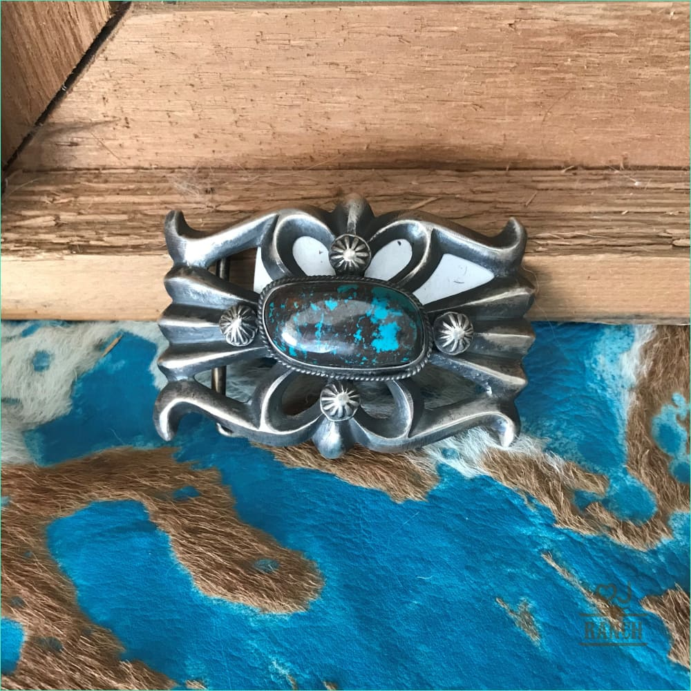 Small Rectangle Sterling Turquoise Buckle - Belt Buckle