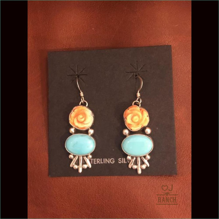 Spiny Oyster Rose And Turquoise Earrings