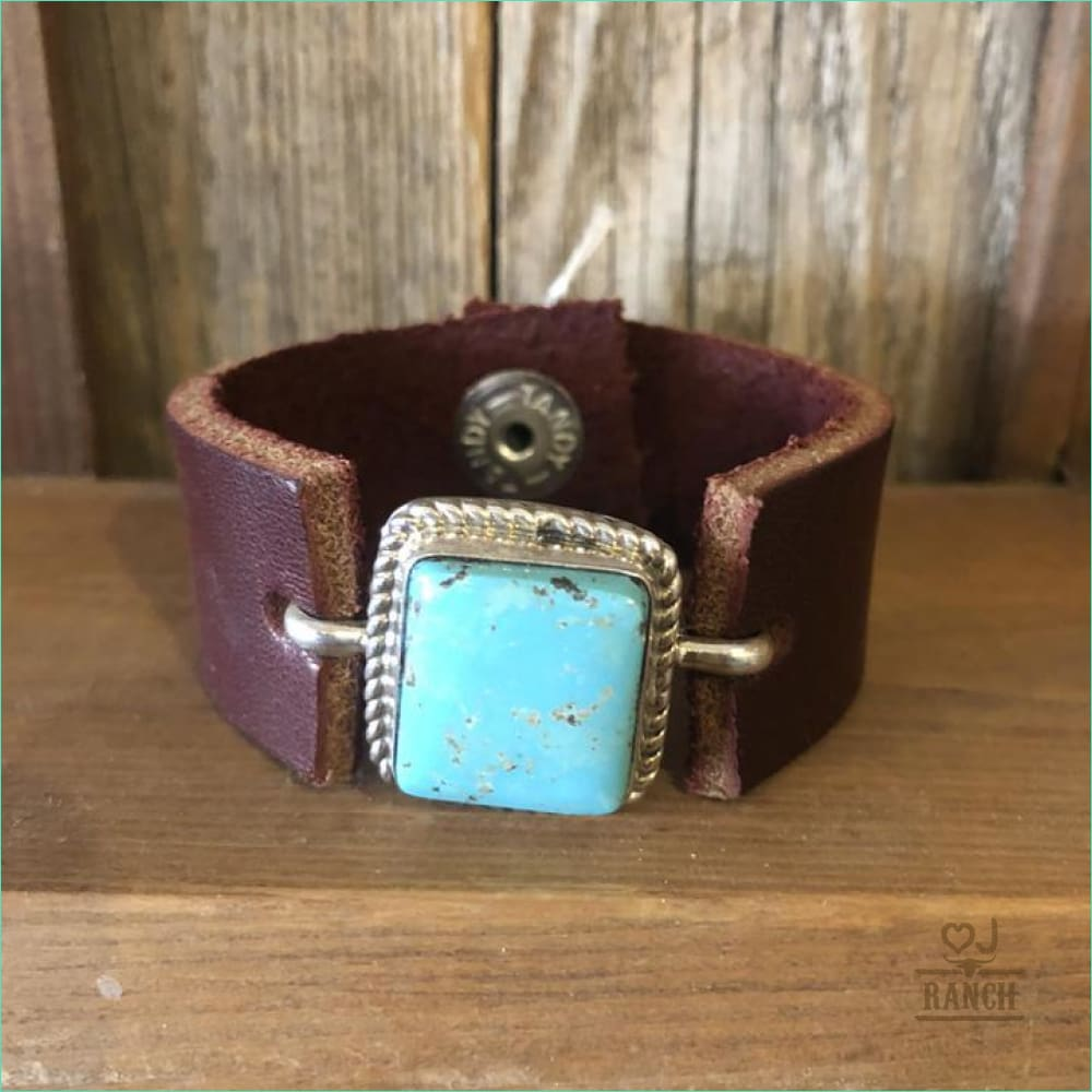 Square Turquoise Pendant On Leather Cuff
