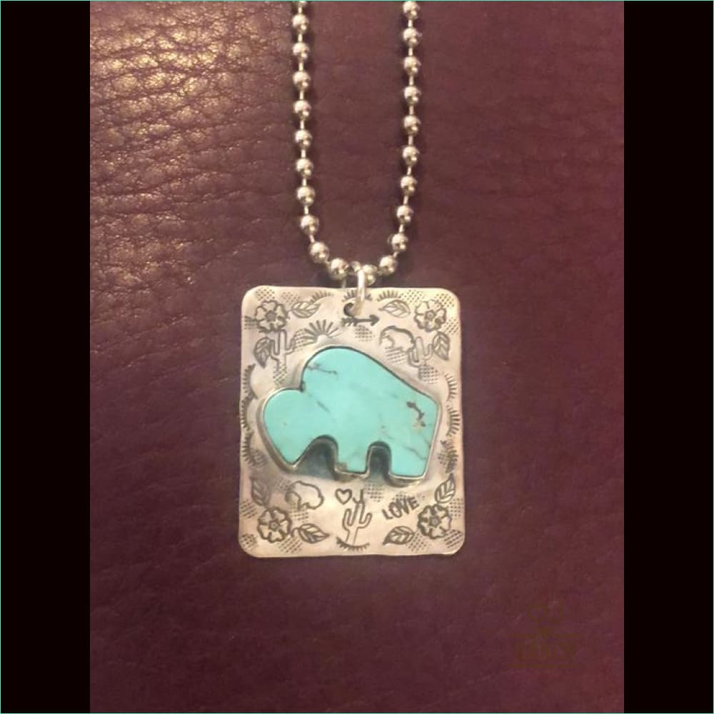 Stamped Turquoise Buffalo Necklace