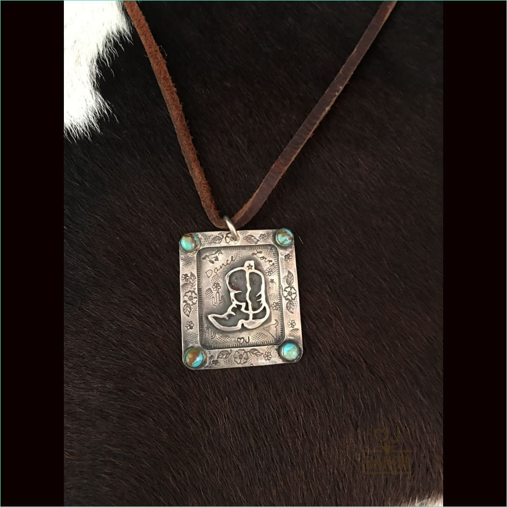 Sterling Boot With Turquoise - Necklace