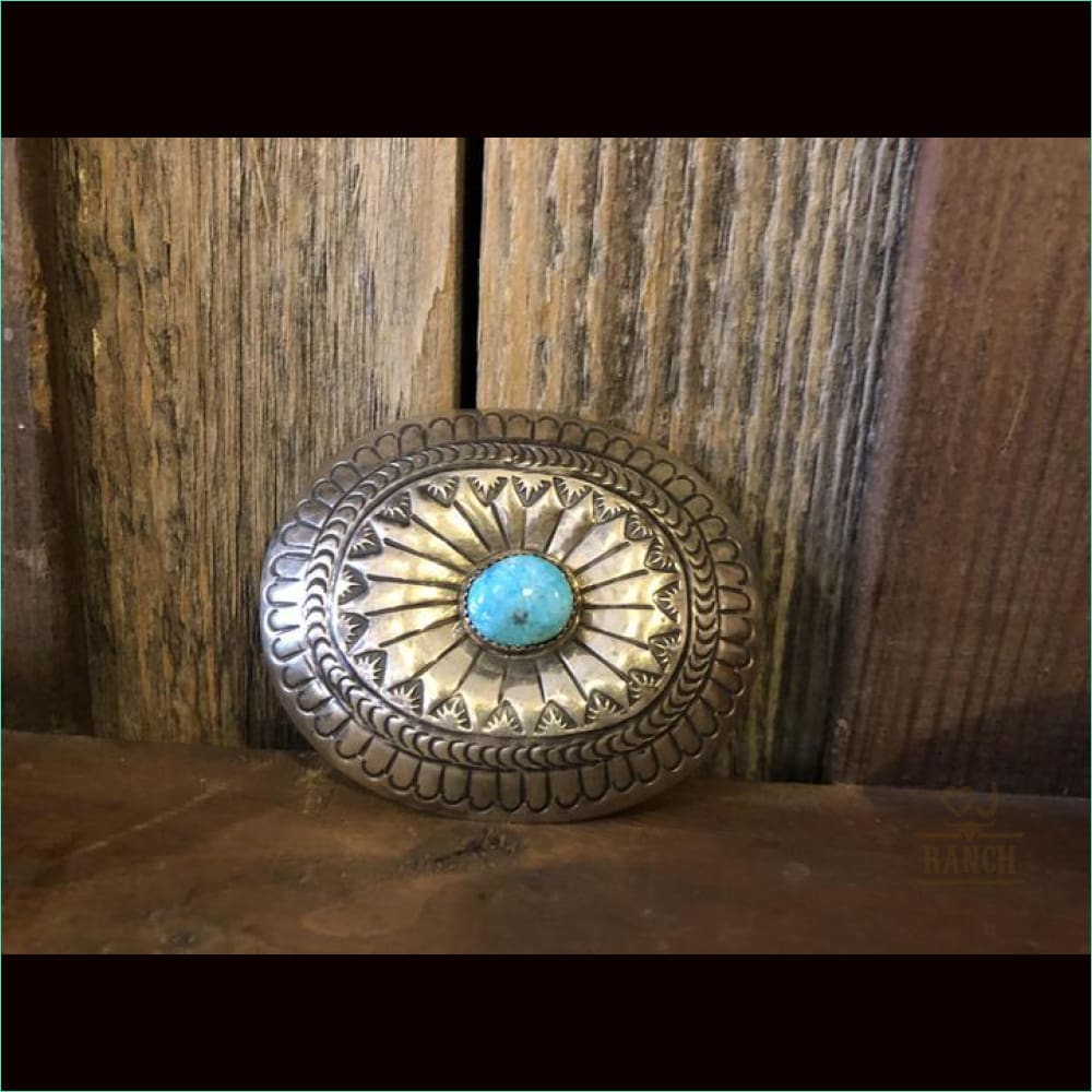 Sterling Concho Buckle/Turquoise