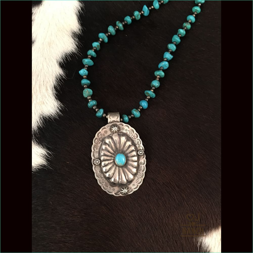 Sterling Silver And Concho With Turquoise Beads