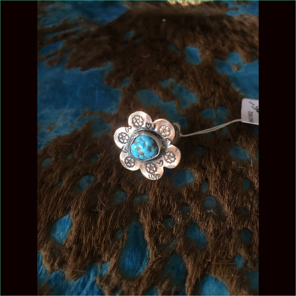 Sterling Silver And Copper Flower With Turquoise Stone - Ring