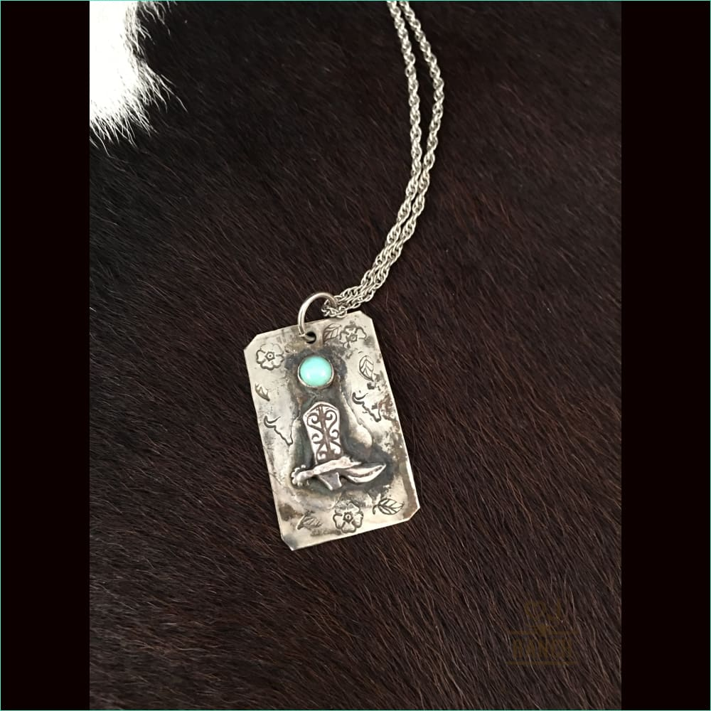 Sterling Silver Boot With Turquoise - Necklace