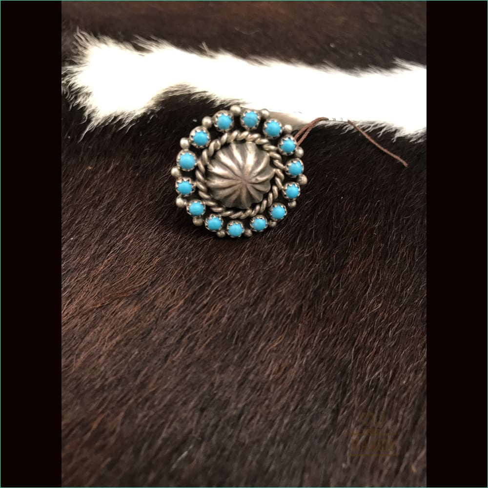 Sterling Silver Concho Ring With Turquoise Stones 1 - Ring