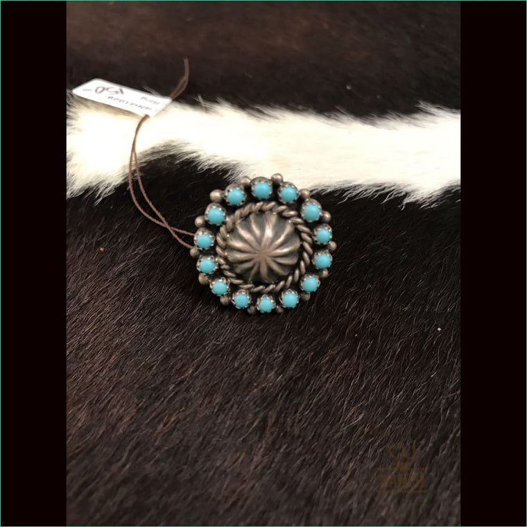 Sterling Silver Concho Ring With Turquoise Stones 2 - Ring
