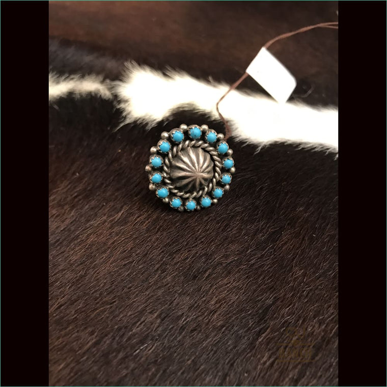 Sterling Silver Concho Ring With Turquoise Stones - Ring