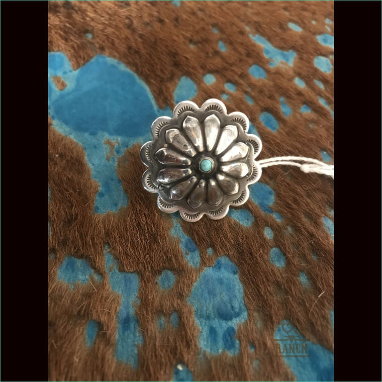 Sterling Silver Concho With Turquoise Stone - Ring