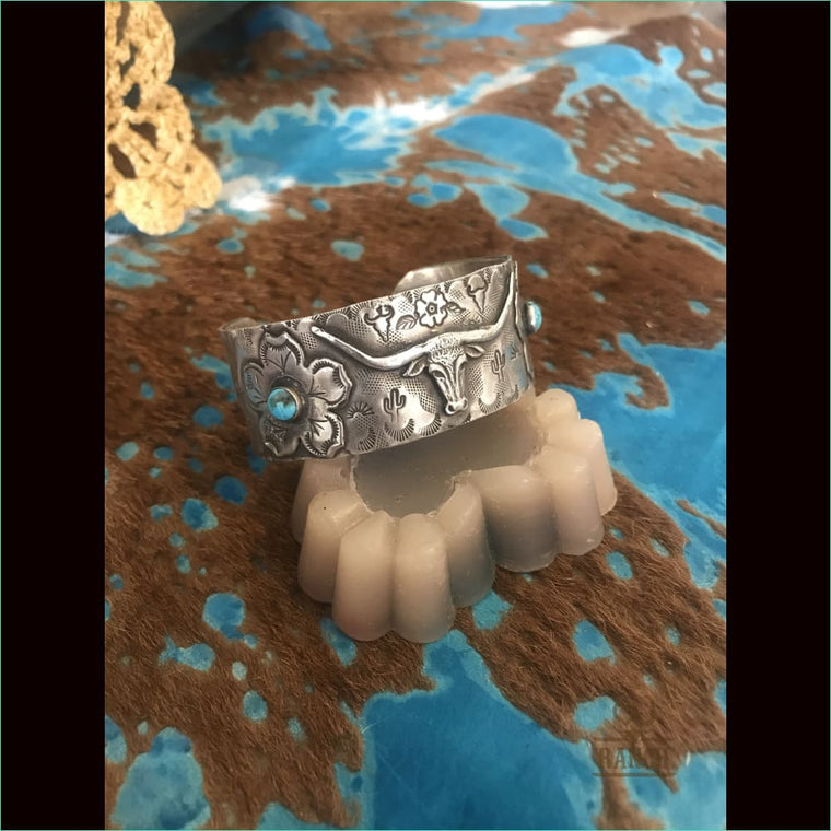 Sterling Silver Cuff With Long Horn With Sterling Silver Flower With Turquoise Stones - Cuff