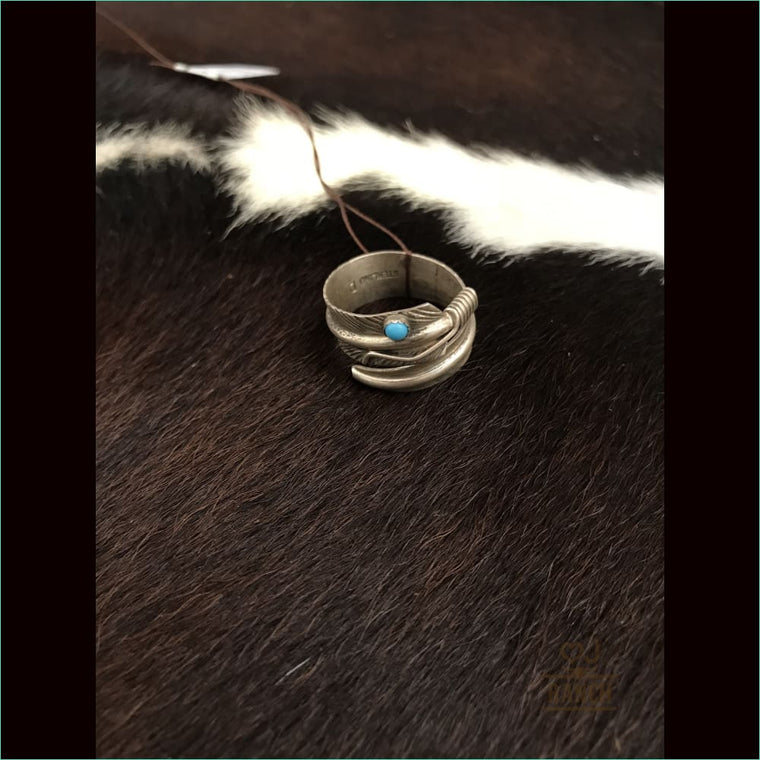 Sterling Silver Feather Ring With Turquoise Stone 2 - Ring