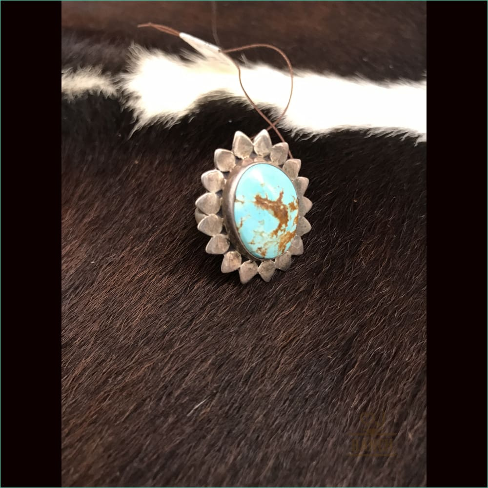 Sterling Silver Flower Ring With Turquoise Stone - Ring