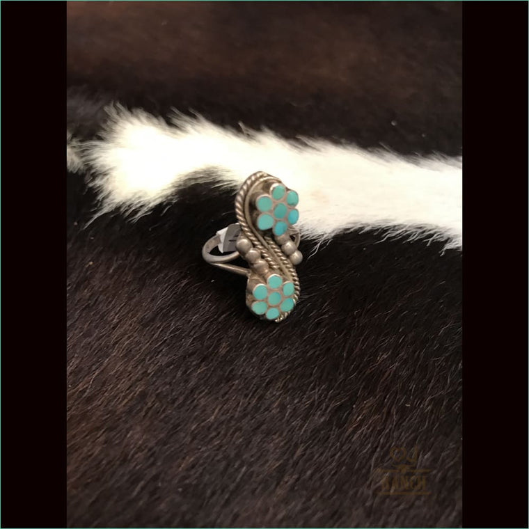 Sterling Silver Flower Ring With Turquoise Stones - Ring