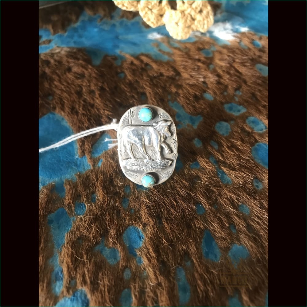 Sterling Silver Steer With Turquoise Stones - Ring
