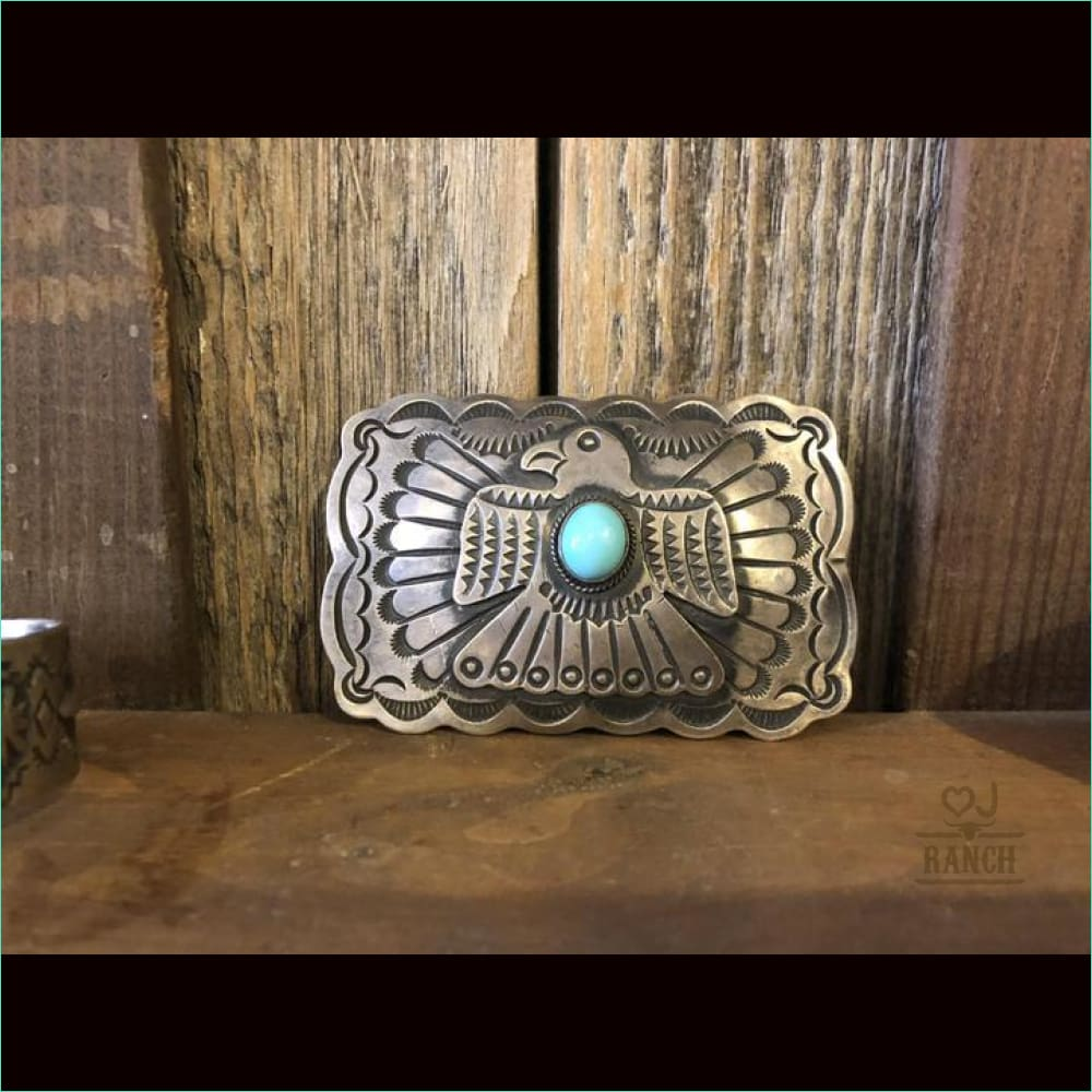 Sterling Silver Thunder Bird With Turquoise Stone Belt Buckle