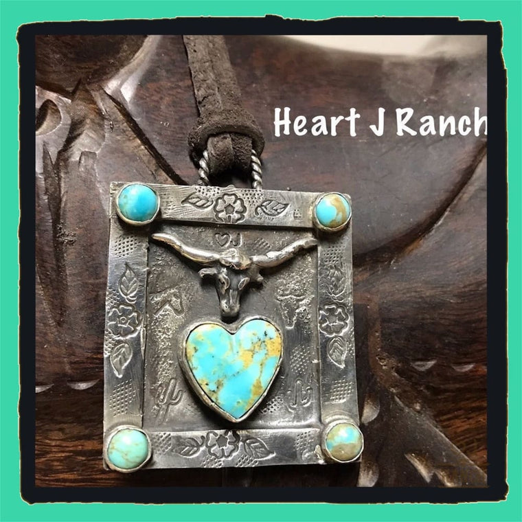 Sterling Silver Turquoise Heart Necklace - Necklace