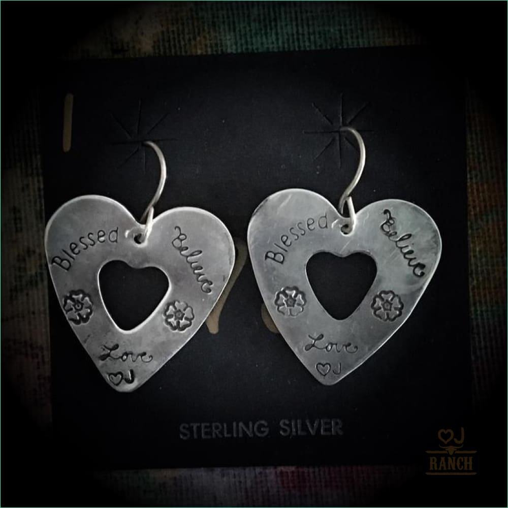 Sterling Stamped Heart Dangle Earrings - Earrings