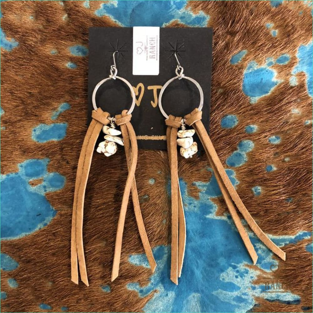 Tan Suede Tassel Earrings - Earrings