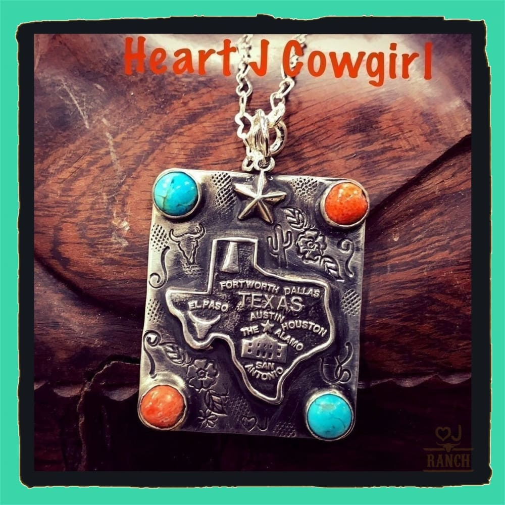 Texas Sterling Silver Necklace With Turquoise Accents - Necklace