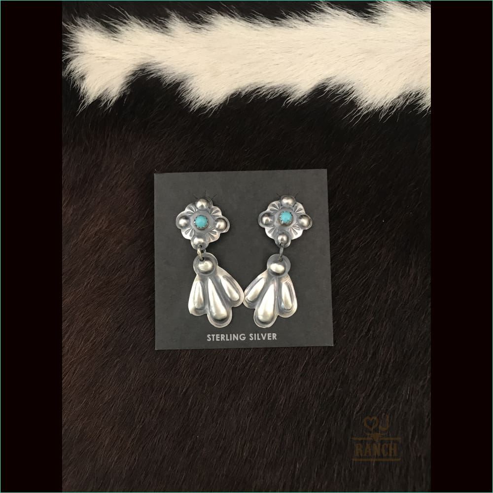 Tim Yazzie Navajo Turquoise Earrings 1 - Earrings