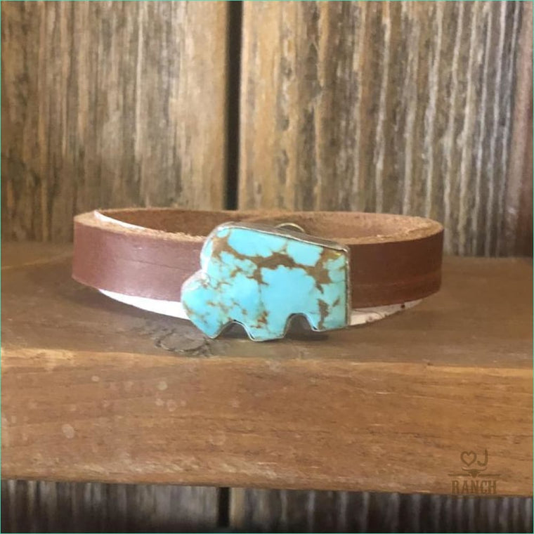 Turquoise Buffalo On Leather Cuff - Website - No
